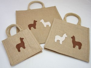 Selection of 3 jute bags - small, medium & large